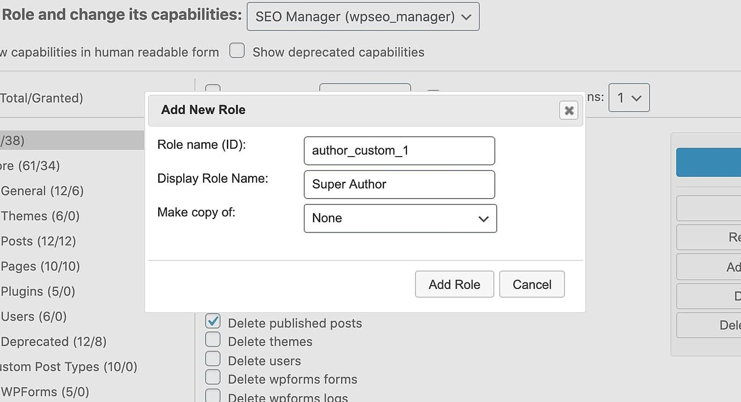 the Add New Role window for the WordPress plugin User Role Editor