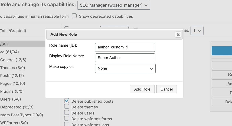 the Add New Role window for the WordPress plugin User Role Editor
