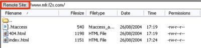 Remote site display in FileZilla