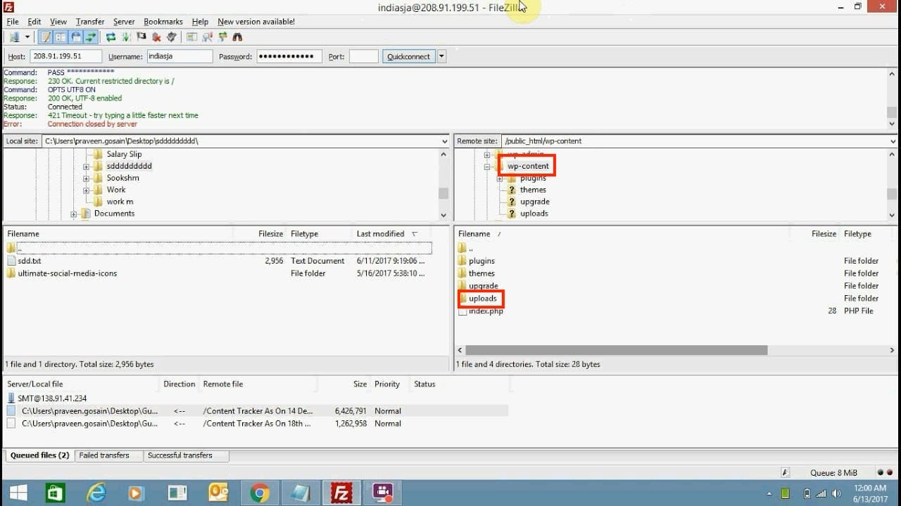 Uploads folder in wp-content directory in FileZilla outlined in red