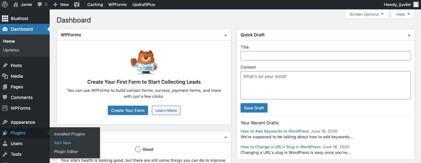 Click Plugins > Add New in WordPress dashboard to start plugin installation process