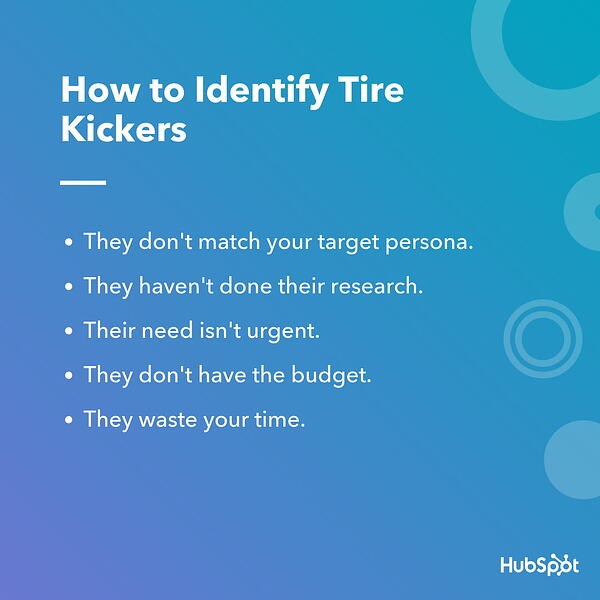 How to Identify Tire Kickers Infographic from HubSpot