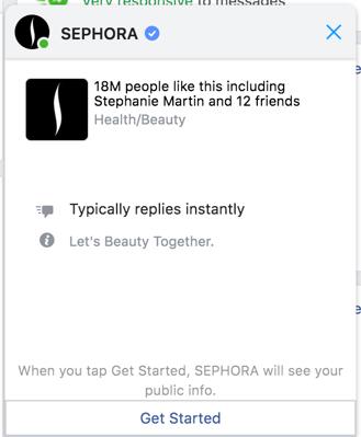 facebook customer service messenger chat bot sephora