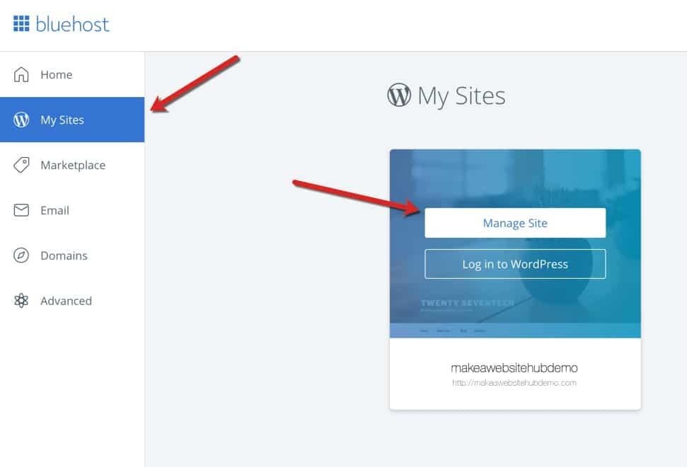 log into WordPress button to install WordPress on Bluehost