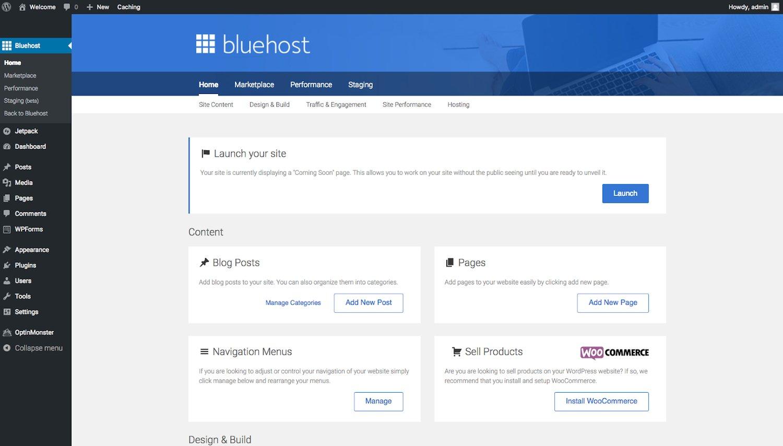 Bluehost menu in WordPress