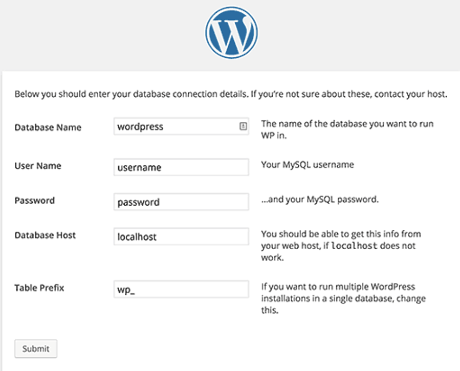 WordPress-database-name