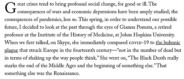 Drop cap in an excerpt from The New Yorker