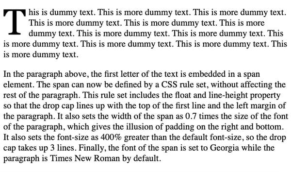 Large drop cap at beginning of paragraph