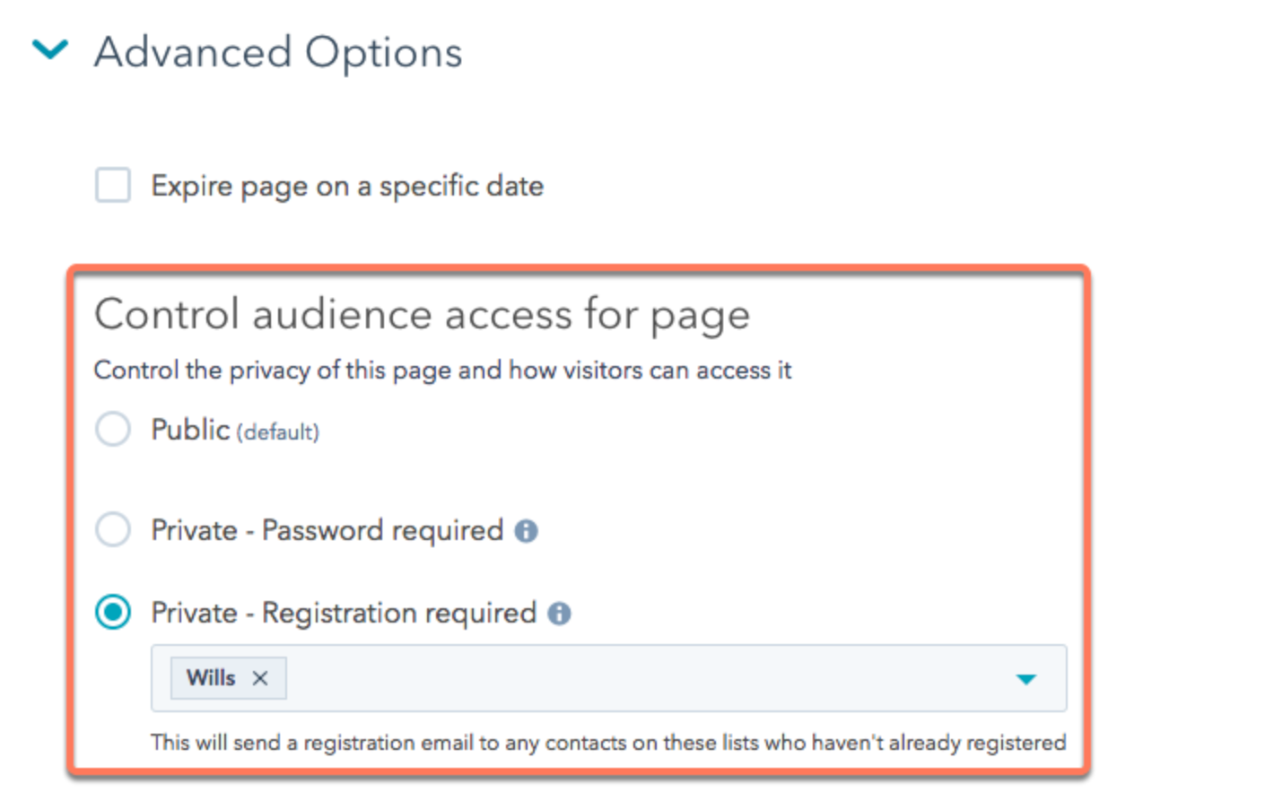 control audience access options for making a website with user accounts in CMS Hub