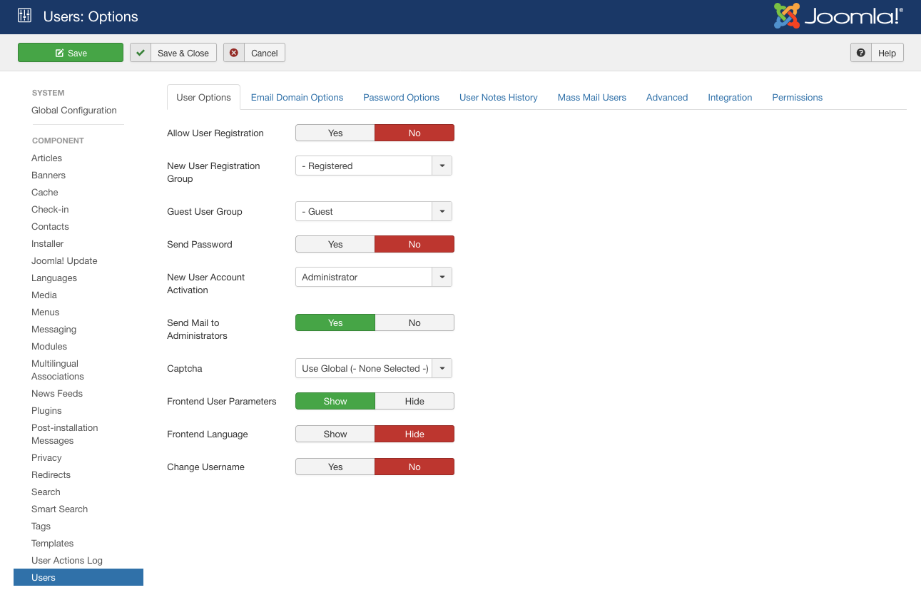 Joomla user options page for allowing user accounts