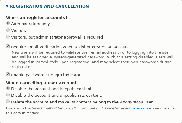 Drupal user registration and cancellation page for making a website with user accounts