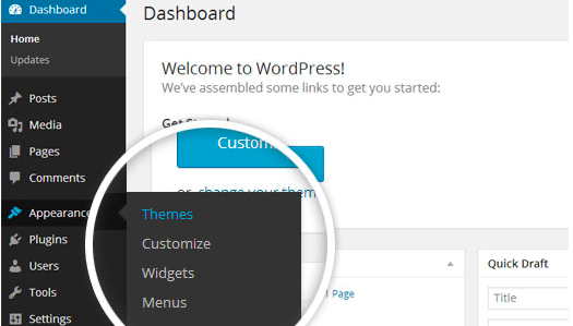 Using the WordPress dashboard to get to the themes.