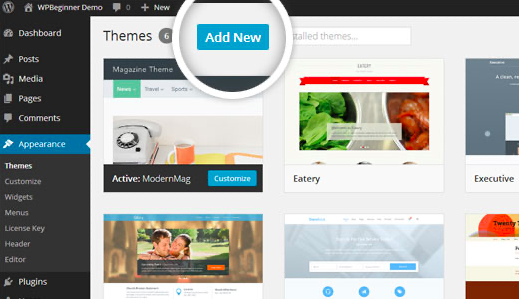Add New button to upload a WordPress theme.