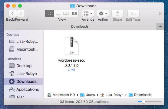 download your wordpress plugin .zip file