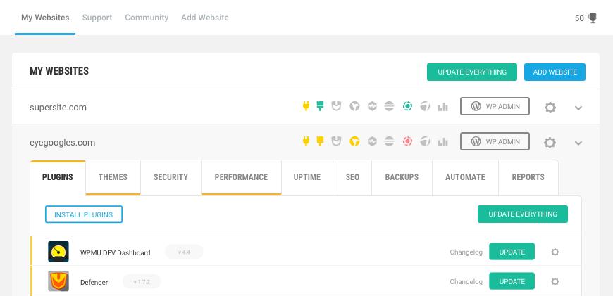 wpmu dev wordpress site management tool