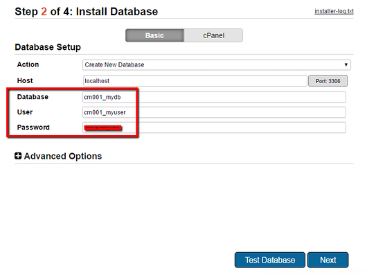 the install database window in the WordPress migration plugin Duplicator