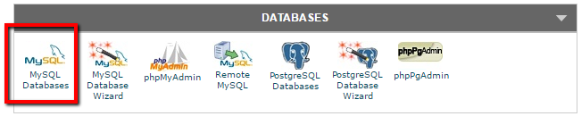 the database selection window in cPanel