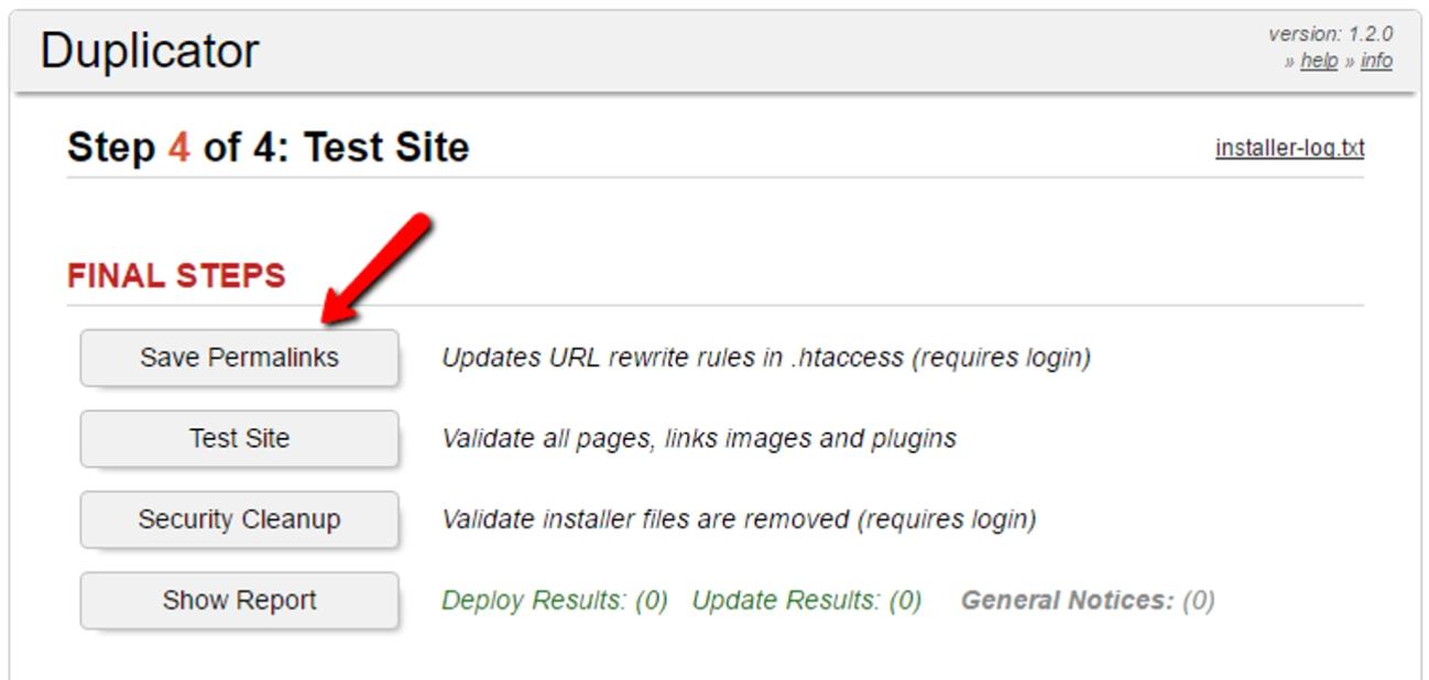 the test site window in the WordPress migration plugin Duplicator