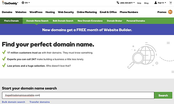 GoDaddy's home page, a site where you can register your domain name.