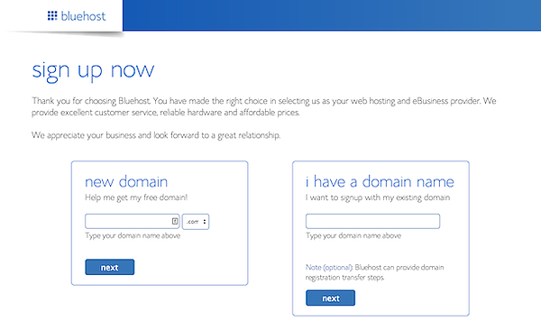 Bluehost allows domain name registration.