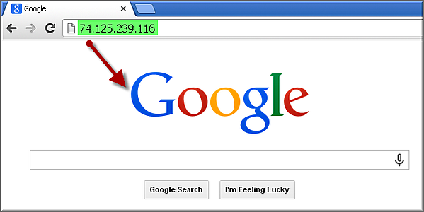 Google's IP address could be used instead of a domain name.