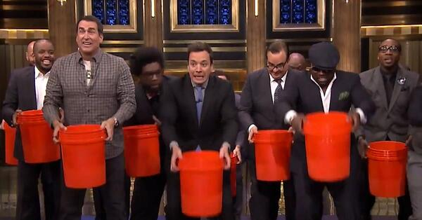 Jimmy Fallon and the ALS ice bucket challenge.