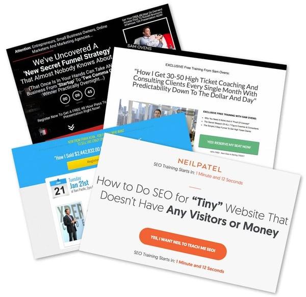 Webinar sales page examples