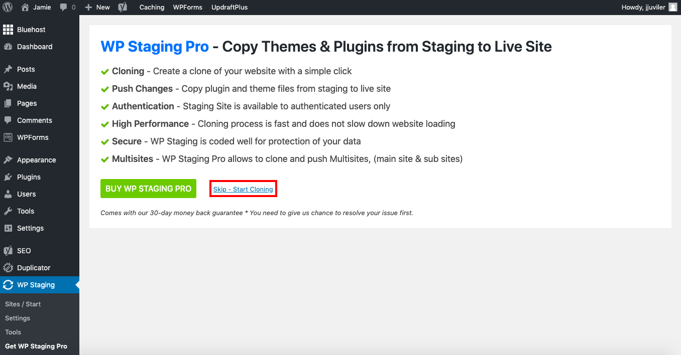 "Link labelled ""Skip - Start Cloning"" outlined in red in WP Staging plugins settings page"