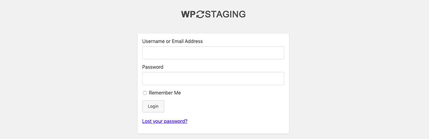 Blank login page created by WP Staging plugin once staging site is ready