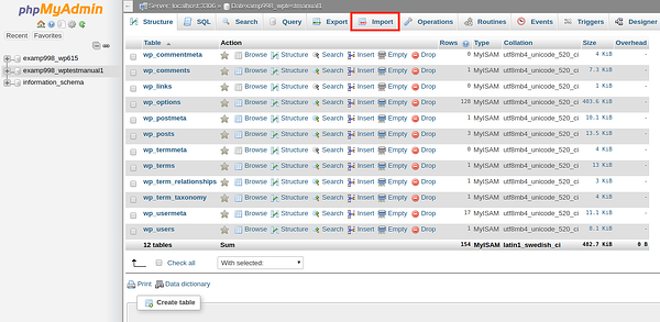 Import button outlined in red in phpMyAdmin in cPanel