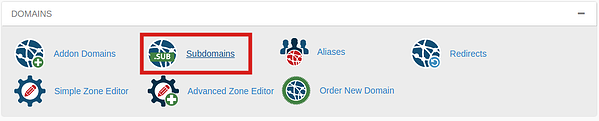 Subdomains icon outlined in red in cPanel