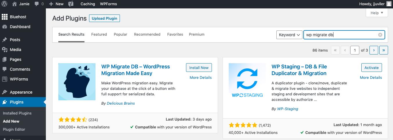 Installing WP Migration DB plugin in WordPress dashboard