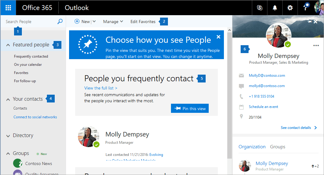 Manage your Outlook contacts using the People page