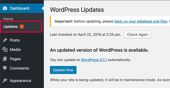 screenshot of the WordPress security updates page in the WordPress dashboard