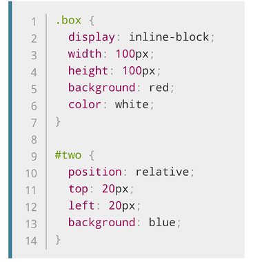 Relative CSS position code color coded