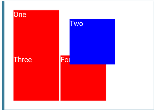 several red boxes of text with a blue box of text slightly over one them to demonstrate relative position