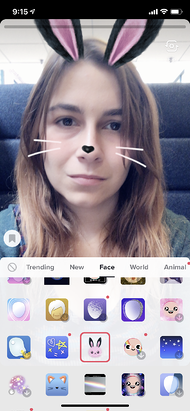 Previewing AR bunny face filter on TikTok