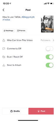 Adjusting post settings and adding a caption on TikTok