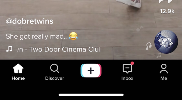 Navigation bar at the bottom of TikTok app screen
