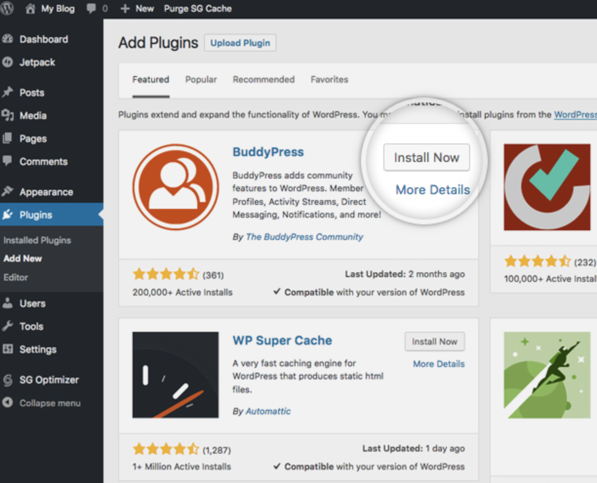 install plugins for WordPress website