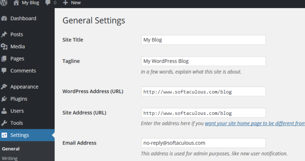 general settings in WordPress website