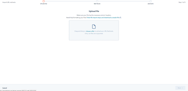 the file upload prompt for bulk 301 redirects in hubspot