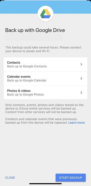 Contacts back up to Google Contacts via Drive