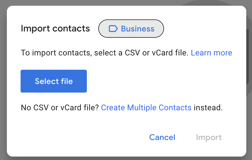 Google contacts showing the option to use labels for importing contacts