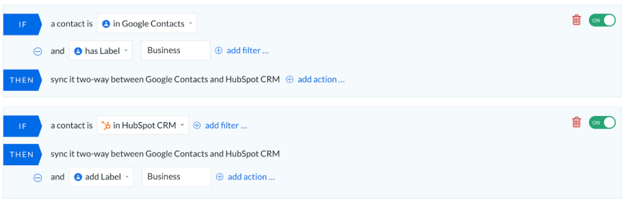 PieSync's dashboard syncing HubSpot and Google Contacts without import and export