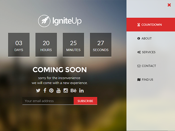 WordPress maintenance page template included with IgniteUp – Coming Soon and Maintenance Mode plugin