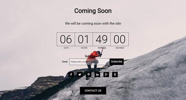 WordPress Maintenance Mode page template by Coming Soon Landing Page and Maintenance Mode WordPress Plugin