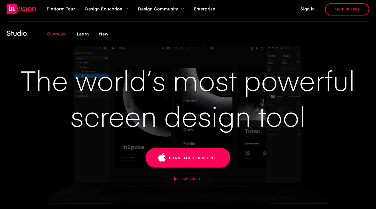 product page for the wireframe tool InVision Studio