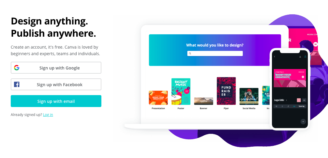 product page for the wireframe tool  Canva