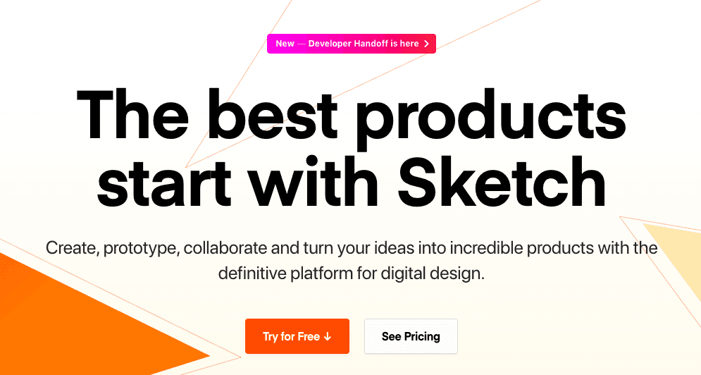 product page for the wireframe tool  Sketch